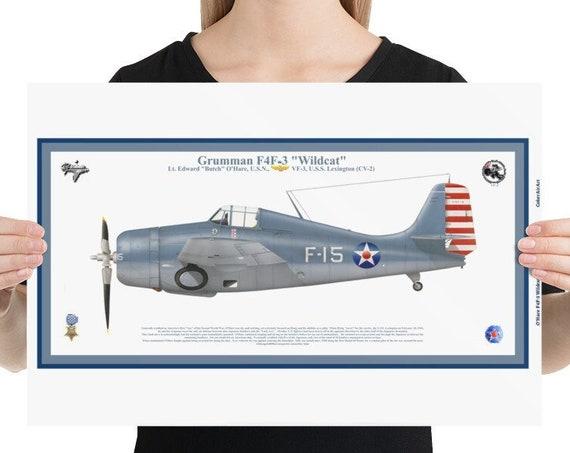 "Poster / Print,  12x18, 18x24, 24x36,  F4F-3 ""Wildcat"", ( ""Butch"" O'Hare, MOH )"