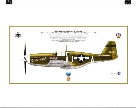 """Art Print, 12""""x18"""" P-51B Mustang """"Ding Hao"""" ( James Howard , MOH ) from the 9th Air Force, WWII"""