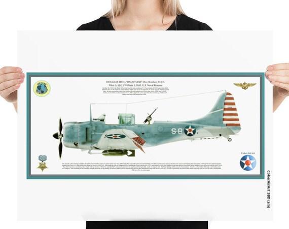 "Art Print, 18""x24"" Douglas SBD-3 ""Dauntless"" ( William Howard , MOH ) Battle of the Coral Sea."
