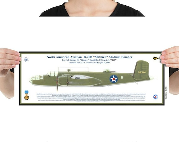 Poster / Print 16x20, 18x24 or 24x36 B-25B Mitchell Bomber, Jimmy Doolittle, MOH, WWII
