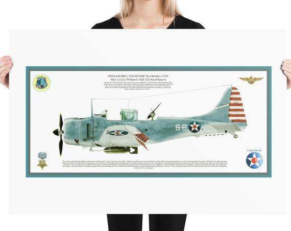 "Art Print,  24""X36""  Douglas SBD-3 ""Dauntless"" ( William Howard , MOH ) Battle of the Coral Sea."