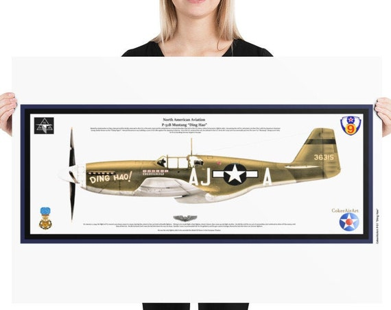 """Poster Print 24""""x36"""" & 18""""X24"""",  P-51B Mustang """"Ding Hao"""", ( James Howard , MOH ) 9th Air Force, WWII"""