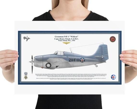 "Poster / Print, 12""x18"", 18""x24"", Grumman F4F-3 ""Wildcat"", ( Henry Elrod, MOH )"