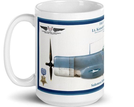 "White glossy mug, F4U ""Corsair"", ( Lt. Kenneth Walsh, MOH ) U.S.M.C, 1943"
