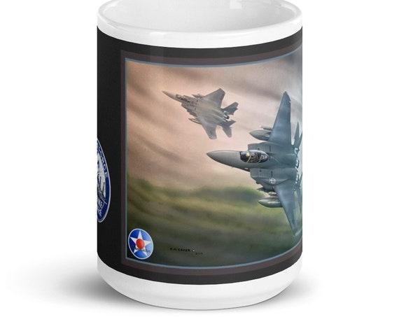 """White glossy mug, 15oz.- F-15E Strike Eagles, """"Dawn over Eastern Europe"""""""