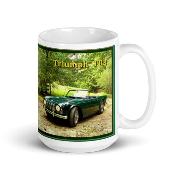 White glossy 15 oz. mug- Classic 1961-65 Triumph TR4 Sports Car