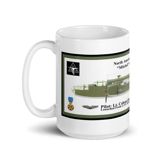 "North American B-25B ""Mitchell"" Bomber ( Jimmy Doolittle , MOH ) -Large White glossy mug"