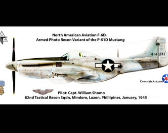 Long Sleeve WWII MOH Fighter Ace William Shomo's F-6D P-51 Mustang air plane T-shirt
