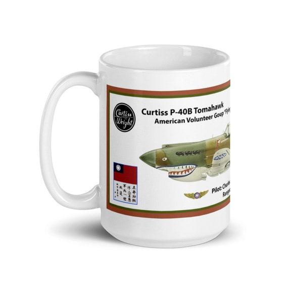 "Curtiss P-40B ""Flying Tigers"" ( Chuck Older ) -Large White glossy mug"