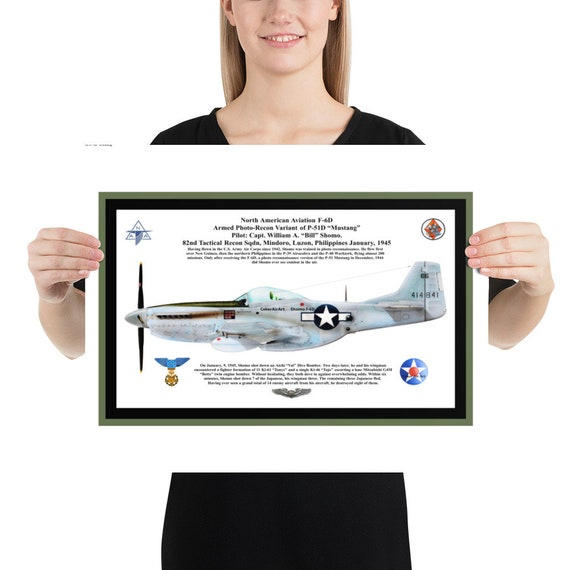 """Poster / Print- 16""""x20"""", 18""""x24"""" or 24""""x36"""" - North American Aviation F-6D ( P-51D ), William Shomo, MOH"""