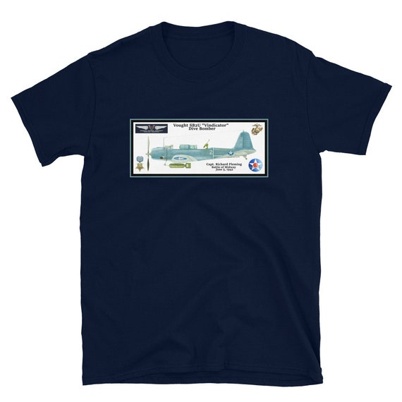"Short-Sleeve Unisex T-Shirt- Vought SB2U ""Vindicator"" Medal Of Honor pilot Richard Fleming"