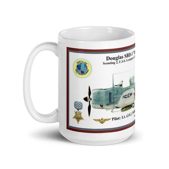 Douglas Dauntless SBD-3 ( Lt. William Hall , MOH ) -Large White glossy mug