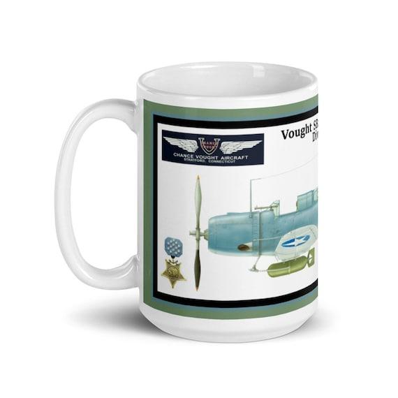 "White glossy mug- Vought SB2U ""Vindicator"" ( Richard Fleming , MOH )"