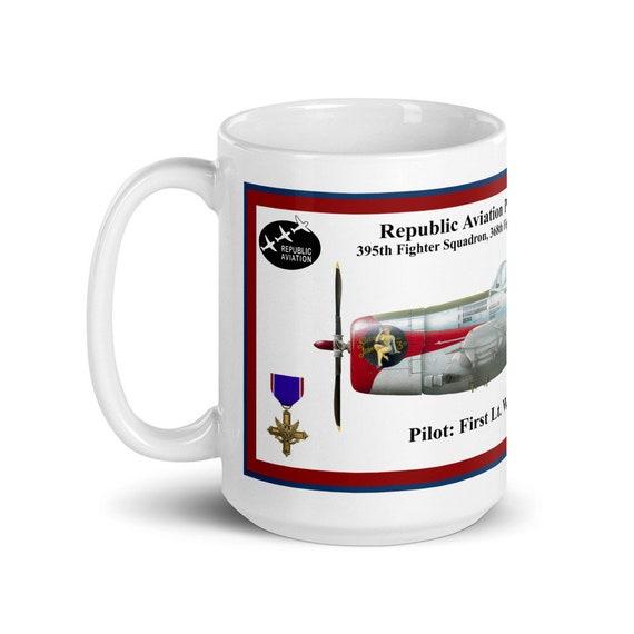 """Republic Aviation P-47 """" Thunderbolt """" -Large White glossy mug"""