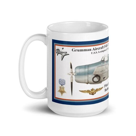 "Grumman F4F-3 ""Wildcat"" ( ""Butch"" O'Hare  , MOH ) -Large White glossy mug"
