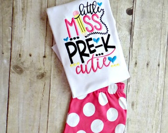 Girls Back to School Outfit,Toddlers Back to School Outfit,Back to School Outfit,Pencil,Little Miss Pre K Cutie,Ruffle Shorts,Embroidered