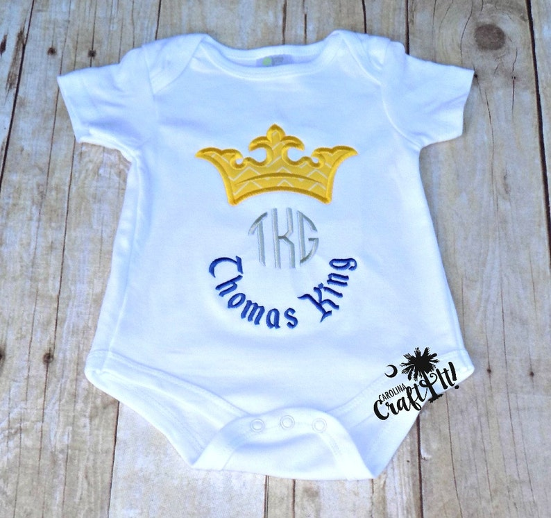 1e5e38714c20 Baby Boy Prince Charming Shirt Crown Monogrammed Baby | Etsy