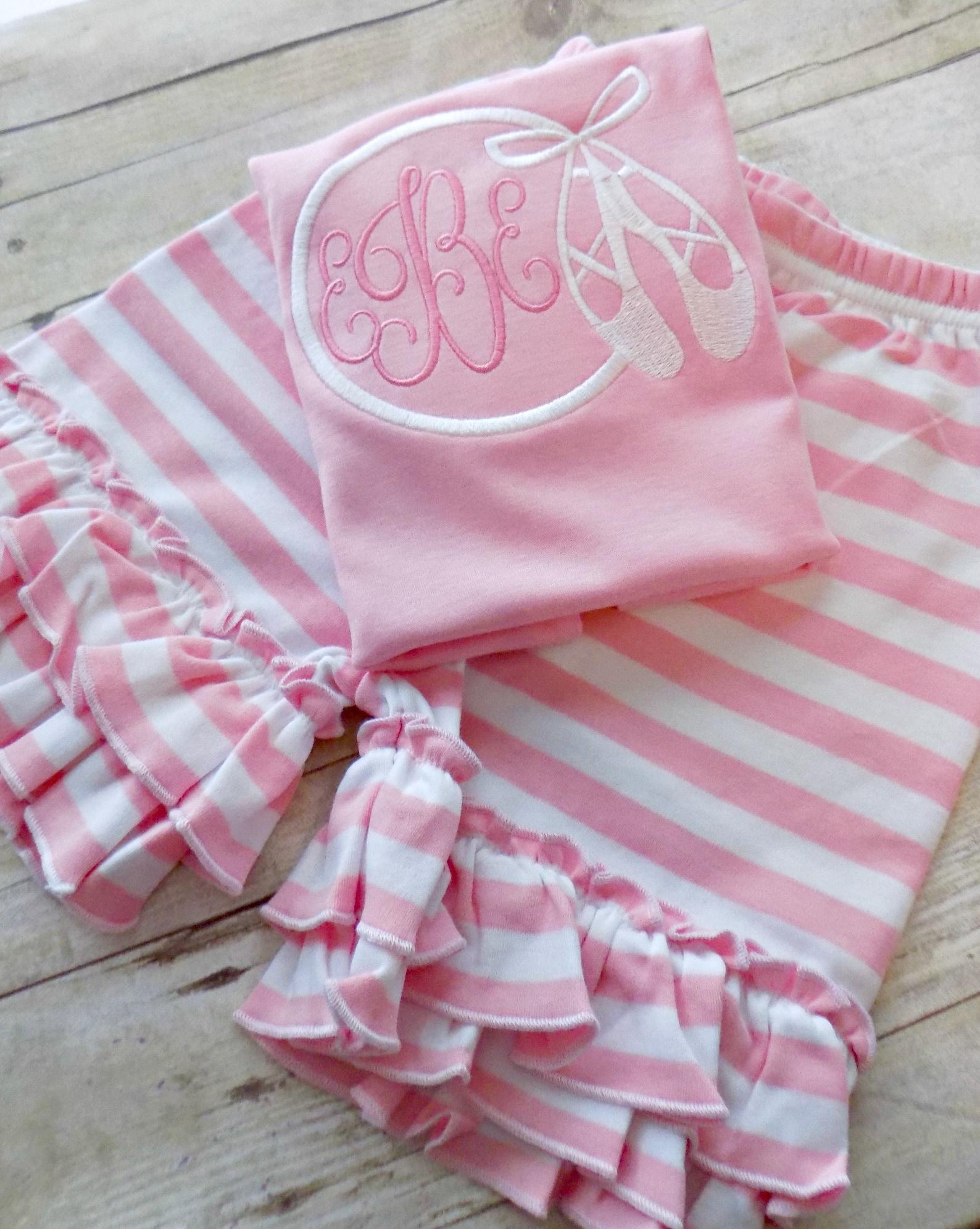 girls dance recital shirt, dance recital gift, girls dance shirt,ballet shoes monogram, toddlers, infants, appliqued, embroidere