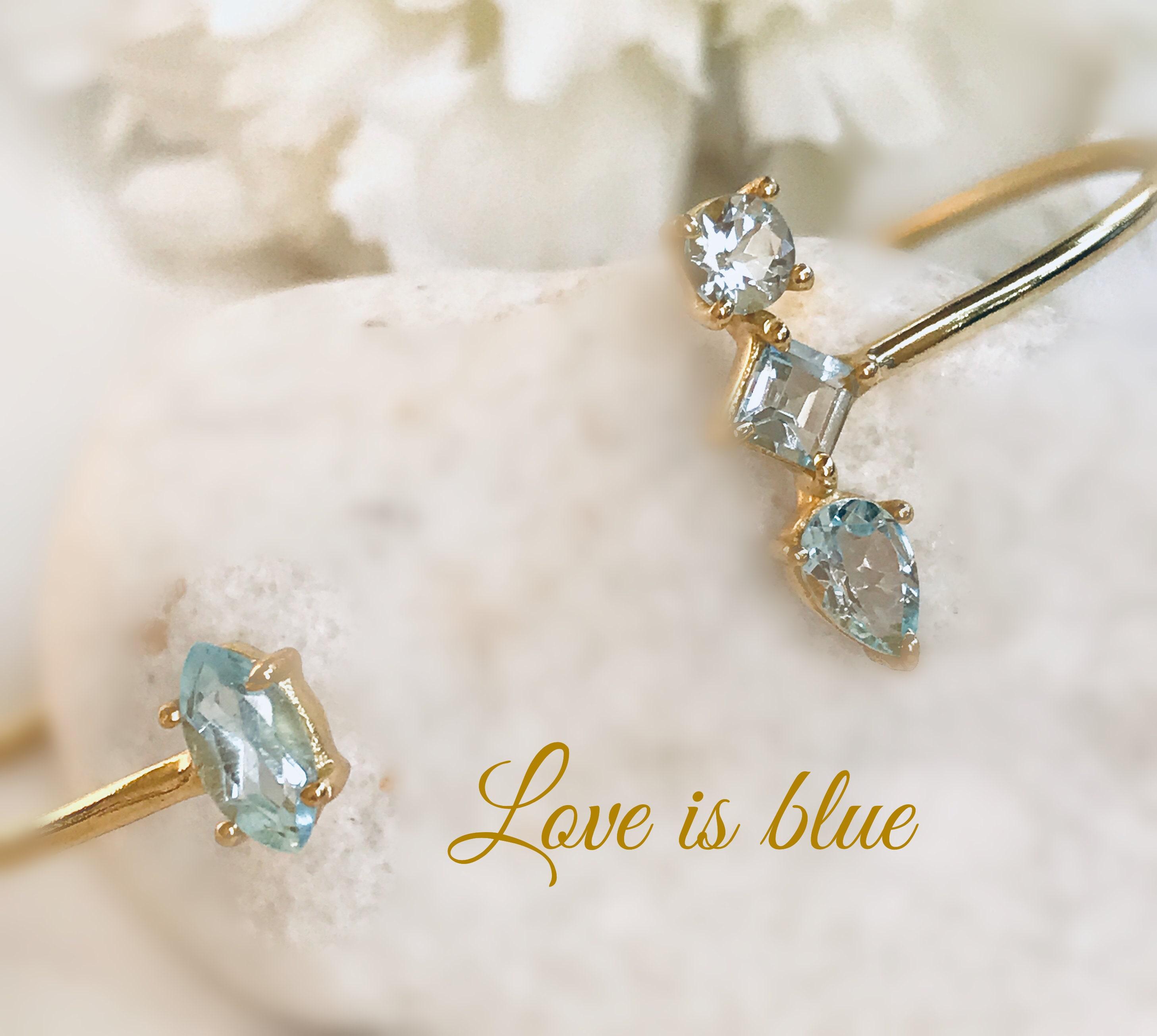 Aquamarine bangle and gold precious stones birthday Christmas woman gift