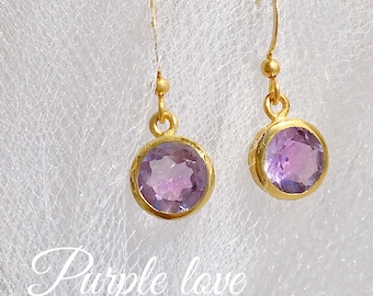 Boho earrings gold and labradorite, Amethyst, quartz gemstones
