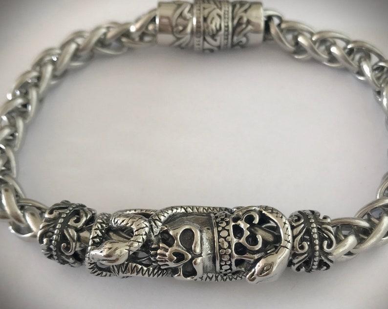 Gothic Viking man bracelet steel and metal luxurious image 0