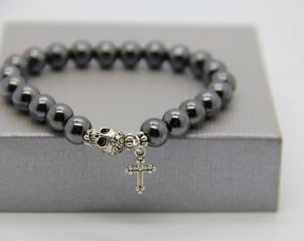 Cross and skull 8 or 10 mm Hematite Beads Bracelet men very good quality