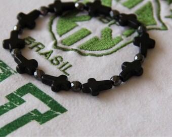 man NEYMAR, cross and hematites Beads Bracelet
