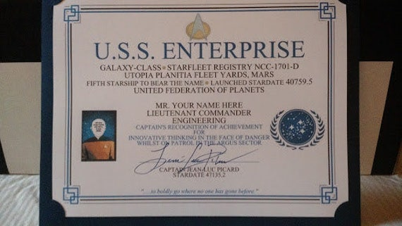 Captain\'s Commendation Certificate Star Trek   Etsy