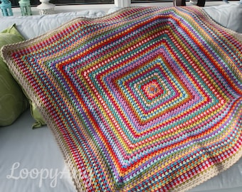 Retro Crochet Blanket ~ Modern Vintage Granny Square Afghan ~  Multicolour Crochet Throw ~ Home, Camping, Festival, Garden ~ Made to Order