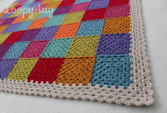 Crochet Patchwork Blanket Multicolour Granny Square Throw