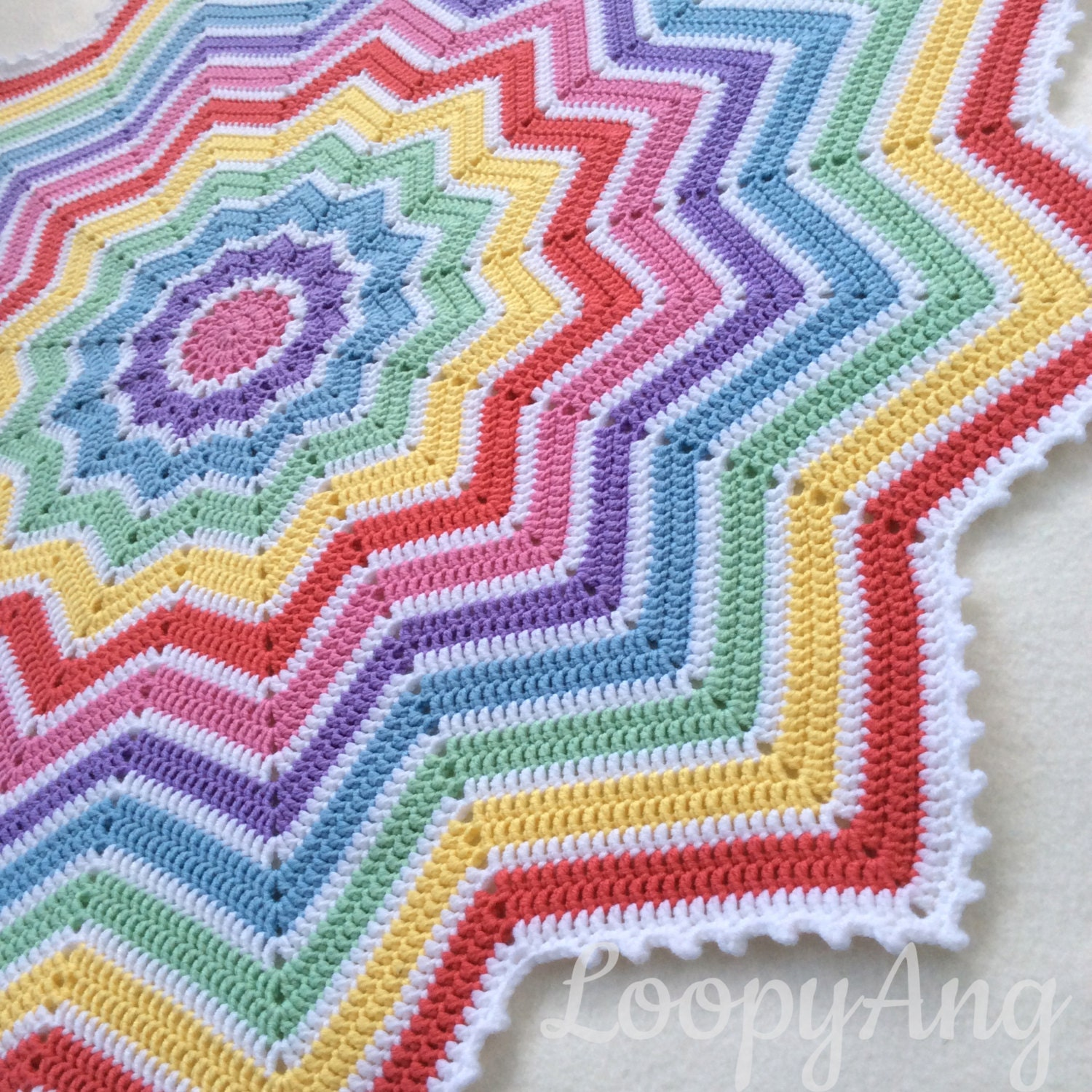 Crochet Rainbow Baby Blanket 12 Pointed Star Afghan Etsy