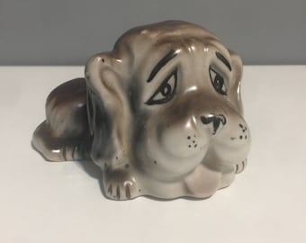 Vintage Sad Ceramic Dog Hound Figure Frown Frowning Small Dog Brown Blood Hound Crying Puppy