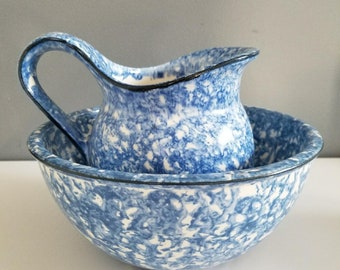 Vintage Blue Spongeware Pottery Set of Mixing Bowl and Pitcher Stangl Pottery Town and Country Rustic Cottage Shabby Spatter Spongeware