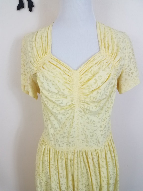 Vintage 1940's Sheer Dress / 40s Yellow Day Dress