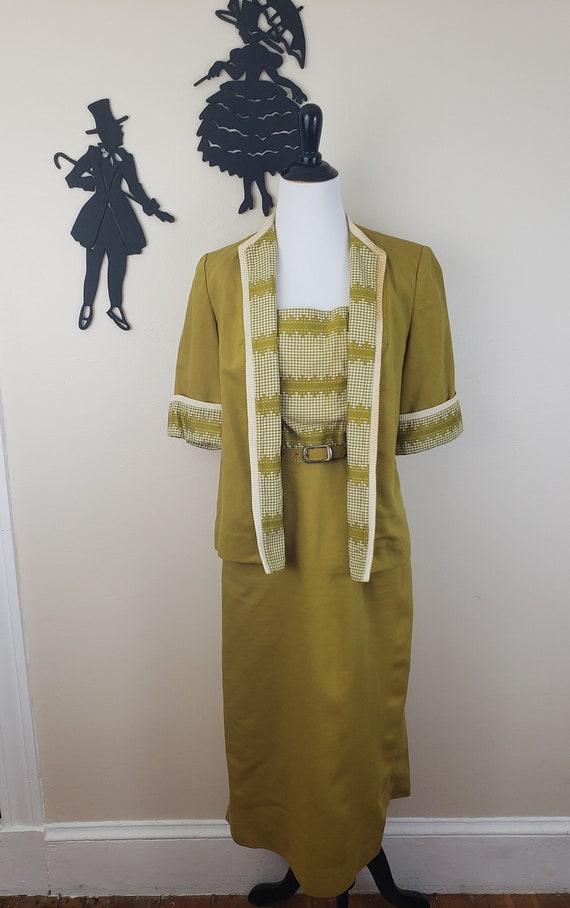 Vintage 1940's Mustard Day Dress / 40s Gingham 3 … - image 4