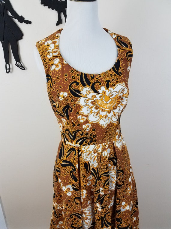 Vintage 1960's Floral Dress / 60s Quilted Day Dres