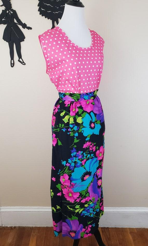 Vintage 1960's Maxi Skirt / 70s Neon Floral Skirt