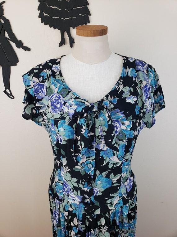 Vintage 1980's Laura Ashley Dress / 90s Rose Flor… - image 7