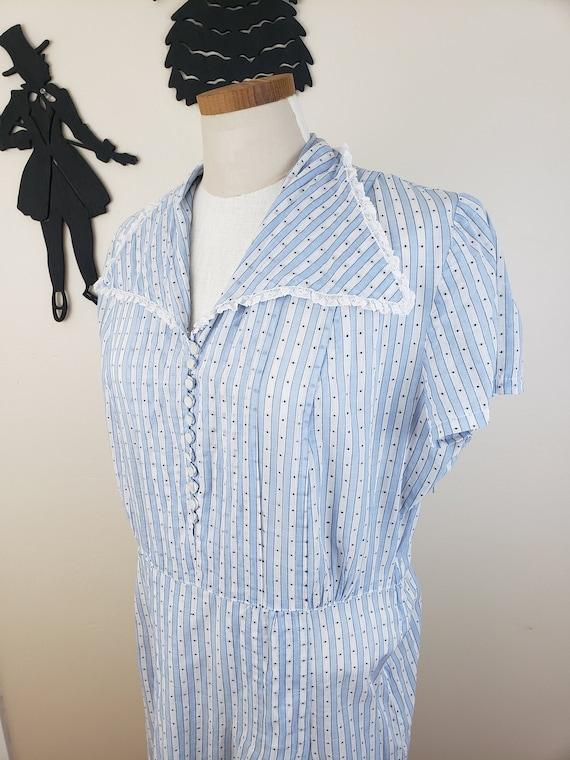 Vintage 1940's Striped Dress / 40s Day Dress XL