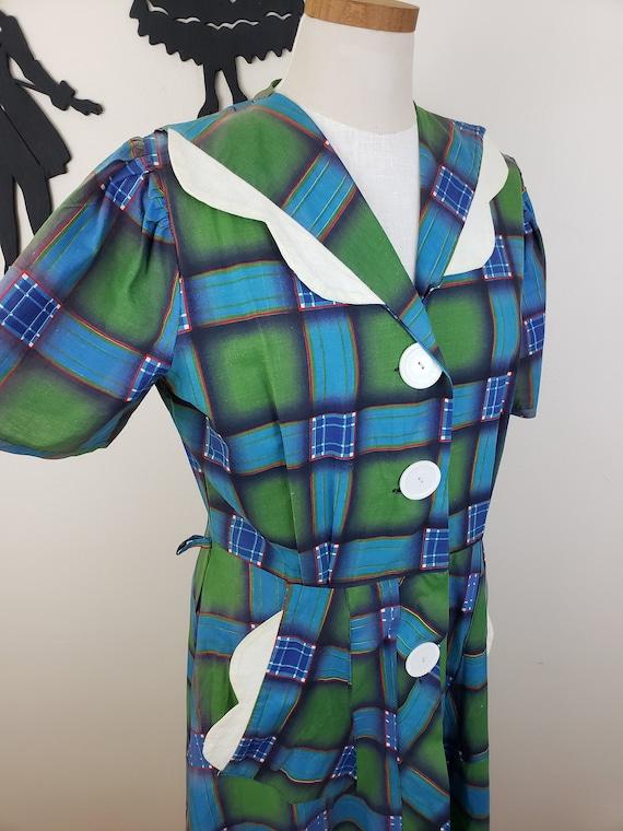 Vintage 1940's Plaid Dress / 50s Plus Size Day Dre