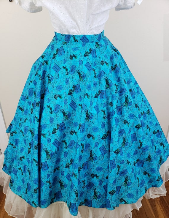 Vintage 1950's Circle Skirt / 50s Novelty Print S… - image 7
