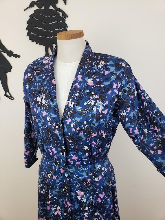Vintage 1940's Day Dress Dress / 40s Leaf Floral P