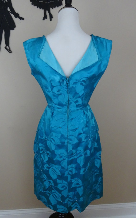 Vintage 1950's Bright Blue Cocktail Dress / 50s E… - image 3