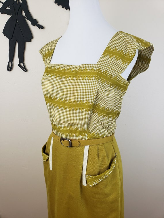 Vintage 1940's Mustard Day Dress / 40s Gingham 3 P