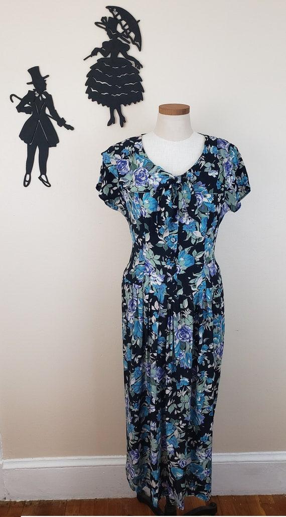 Vintage 1980's Laura Ashley Dress / 90s Rose Flor… - image 2