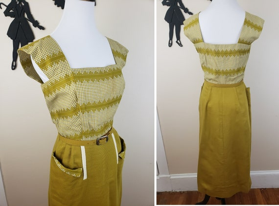Vintage 1940's Mustard Day Dress / 40s Gingham 3 … - image 3