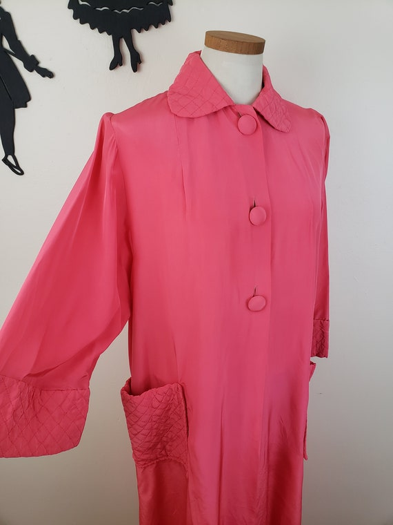 Vintage 1940's Coral Robe / 50s Quilted Loungewear
