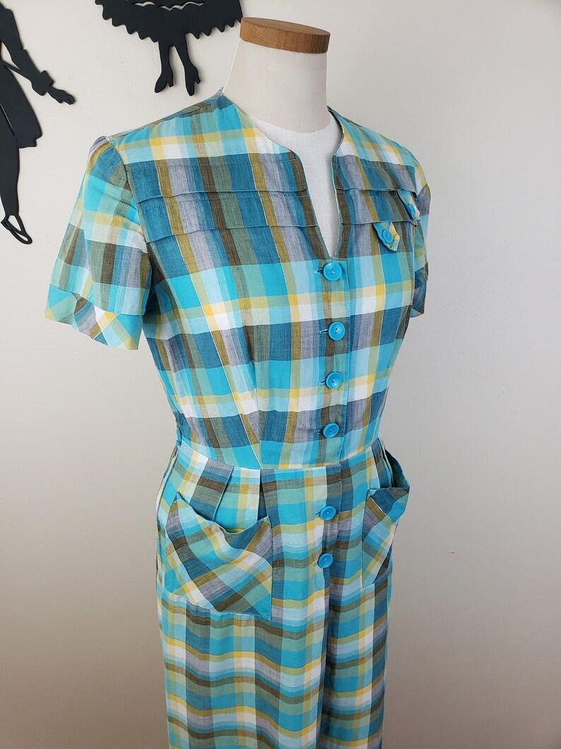 Vintage 1950/'s Plaid Dress  60s Day Dress L