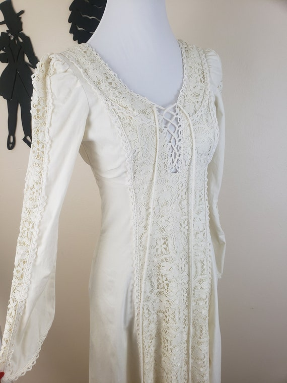 Vintage 1970's Cream Gunne Sax Dress / 70s White C