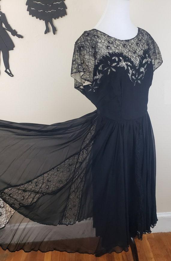 Vintage 1940's Black Lace Dress / 40s Sheer Formal